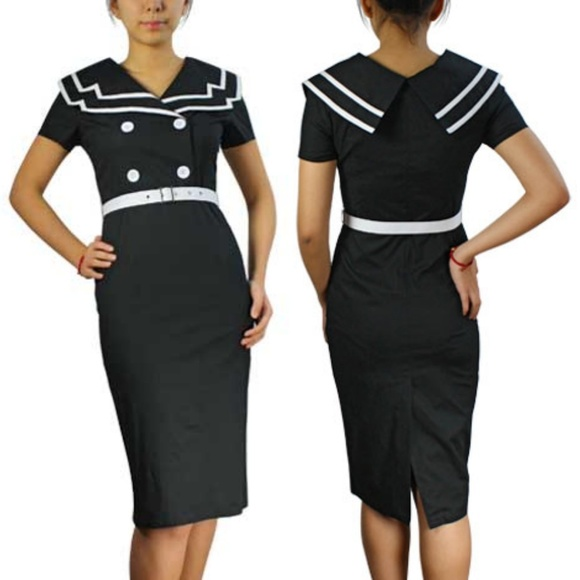 Plus Size Pin Up Clothing Sailor Pencil Dress 50s NWT